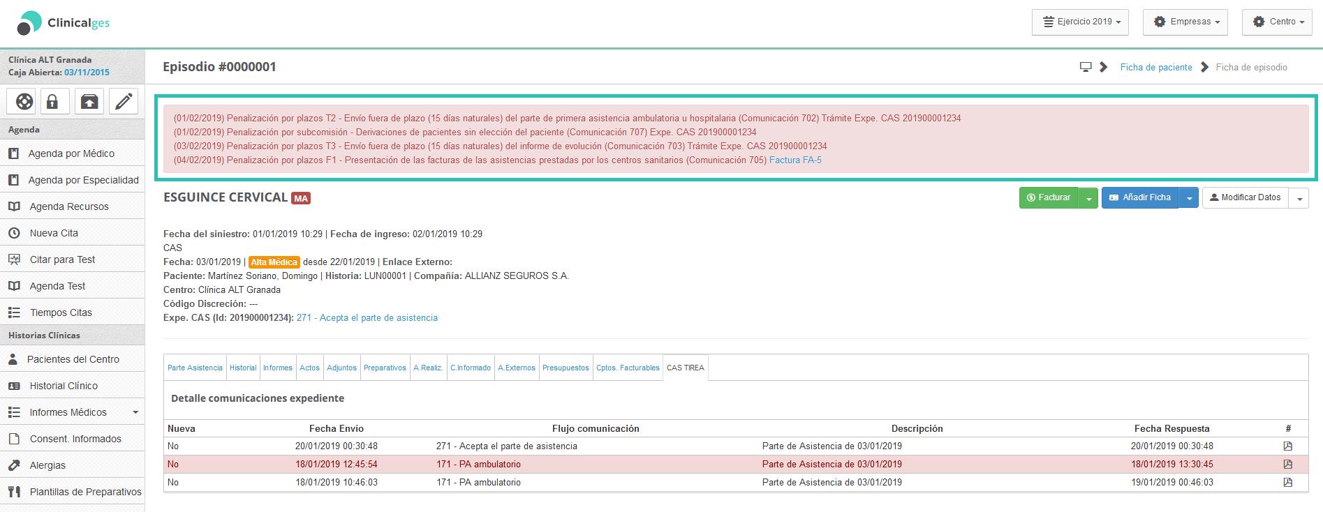 imagen de listado de comunicaciones de penalizaciones en Clinicalges